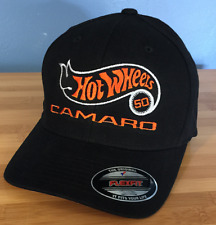 Embroidered 2018 Hot Wheels Chevy Camaro 50th Black Flexfit Fitted Hat LG/XL NEW