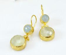 OttomanGems semi precious gemstone earrings gold Agate Cat eye Turkish handmade