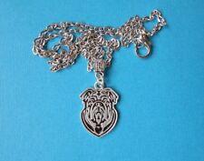 Handmade Bulldog Necklace & Pendant Metal Silver Tone Dog Heart Face Puppy