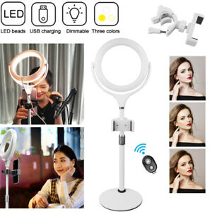 8inch LED Desktop Dimmable 360° Rotation Ring Light With Phone Holder Bluetooth