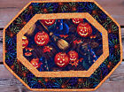 Handcrafted Quilted Table Runner Topper - HALLOWEEN PUMPKIN WITCH HAT BROOM