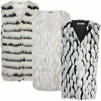 Women Sleeveless Faux Fur Gilet Ladies Waistcoat Outerwear Coat Jacket Size 8-14