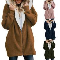 Women Ladies Warm Teddy Bear Fluffy Coat Hooded Fleece Jacket Outwear Sweatshirt