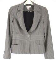 White House Black Market WHBM Blazer Jacket Sz 8 Gray Striped Career DD331