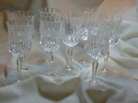 Vintage Diamond Pattern Crystal Wine Glasses Goblets 71/4''.LOT OF  8