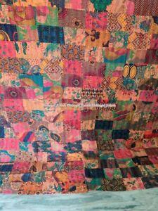 Handmade Block Print Patch Work Kantha Hippie Ethnic Bohemian Rallies Deco Quilt