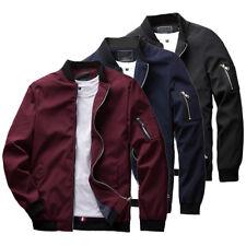 Men ZIPPER Casual Jacket Fight Bomber Coat Thin Spring Fashion Baseball Red Regular L