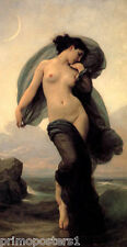 EVENING MOOD MOON SEA NUDE WOMAN 1882 PAINTING BY BOUGUEREAU ON CANVAS REPRO