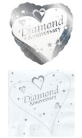 60th Diamond  Anniversary Party Tableware and Balloons