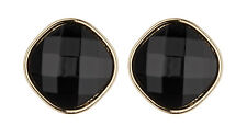 CLIP ON EARRINGS - gold earring with a large black resin stone - Bonnie