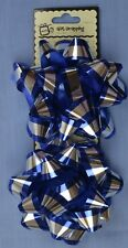 10cm Blue / Silver Bow Wrapping Pack ( x 2 Bows)