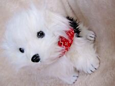 Ty Beanie Baby Hobo the Dog with red bandana scarf around neck black and white