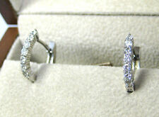 Diamond Earrings 14K white Gold .48ct NATURAL French Back PAVE FREE Ap $2,190