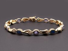14k Yellow Gold 2.40ct Opal Tanzanite Bezel Set & Diamond Tennis Link Bracelet