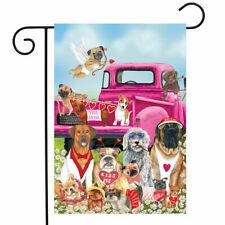 """Fm58 Happy Valentin'S Day Puppy Dogs Hearts 12""""x18"""" Garden Flag Banner"""