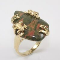 Solid 14K Yellow Gold Unakite Frog Cocktail Ring Size 6.5