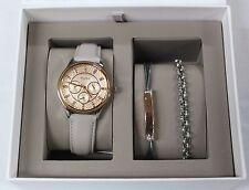 New FOSSIL BQ3128SET Mod Soph StainlessSteel GreyBand Women Watch Bracelet Set