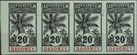Dahomey. (*)Yv 23a(4). 1906. 20 cts negro sobre azul-gris, tira de cuatro. SIN