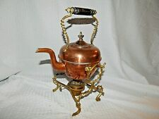 New listing Beautiful Ant.Tilting Copper & Brass Teapot Warming Pot Brass Stand Hard to Find