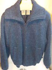 Hilda Ltd Lined Sweater Jacket Cardigan Wool Iceland Small Zip Front Blue