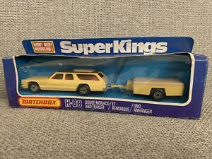 MATCHBOX SUPER KINGS K 68 Dodge Monaco and Trailer MIB NEW with box never used