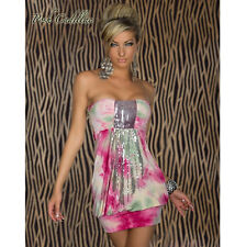 Tunic Tube Dyed Strapless Ruched Mini Bodycon Dress with Sequined Fringed S-XL