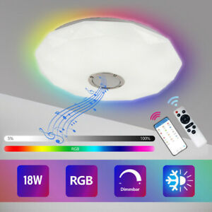 RGB LED Ceiling Light Bluetooth Speaker Music Lamp Dimmable APP Remote Round
