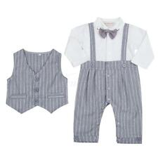 Newborn Baby Boy Wedding Formal Suit Gentleman Romper vest Outfit Clothes 6-24M