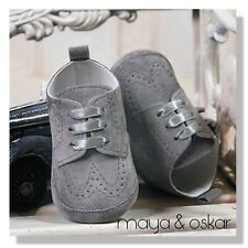 BABY BOYS GREY FAUX SUEDE PRAM SHOES CHRISTENING BAPTISM SMART FORMAL PARTY
