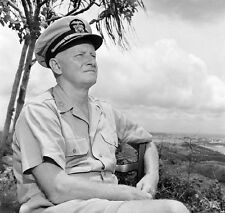 WWII Photo US Navy Admiral Chester Nimitz Guam WW2 B&W World War Two USN  / 1346