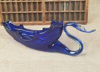 Vintage blue hand blown glass swan bowl home decor
