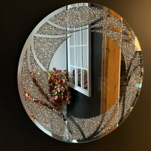 60cm Round Jewel Diamante Wall Mirror Crushed Crystals Round Jewel Mirror Bling