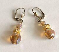 "Vintage Brown Iridescent Glass & Gold Tone Bead Dangle Drop Earrings 1 5/8"" Long"