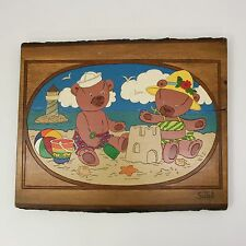 "Vtg 1987 Sund Wood Relief Carving 18"" x 14"" Painted Teddy Bear at Beach Ocean"