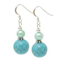 Ohrringe Ohrhänger aus Türkis Howlith & Süßwasser-Perlen 925 Silber Ohrschmuck