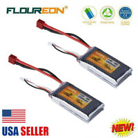 2X FLOUREON Lipo Battery 1500mAh 7.4V 2S 35C T Plug For RC Car Truck Boat FPV US