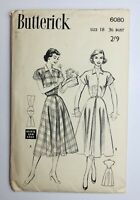 1950's Vintage Sewing Pattern Butterick 6080 'Quick and Easy' Dress Bust 36""