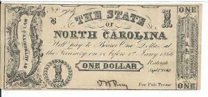 $1 1862 North Carolina Raleigh Cr88A Grey-Black #714 No Printer Name Bank Note