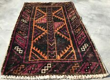 Authentic Hand Knotted Vintage Afghan Al Khuja Wool Area Rug 2 x 2 Ft (9065 Bn)