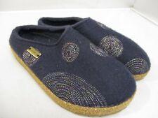 HAFLINGER SPIRIT Sz 37 / 6-6.5 Women's Navy blue Wool Clogs Slip On Shoe Slipper