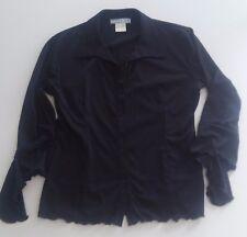 Camicia donna nera microfibra, maniche lunghe con volant, taglia 46/48