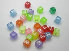 250 Assorted Colorful Transparent Acrylic Alphabet Letter Cube Pony Beads 6X6mm