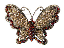 Rhinestone Butterfly Pin Brooch Jewelry Fashion Lady Queen Topaz Crystal
