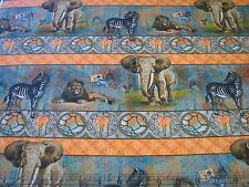 3 Yards Cotton Fabric- Spectrix African Safari Stripe Zebra Elephant Lion