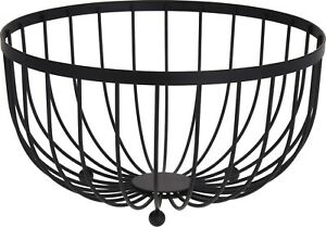 Large Round Black Fruit Bowl Storage Display Basket Centerpiece Bowl