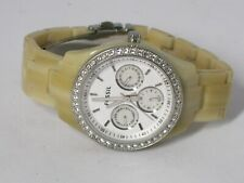 Fossil ES-2455 Natural Resin Bracelet White Glitz Analog Dial Watch Women's