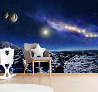 3D Galaxy and Planets Space Self-adhesive Kid's Room Wallpaper Wall Mural Poster