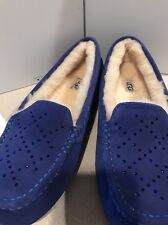 NIB UGG Crystal Swarovski Crystal Ainsley Moccasin BLUE suede/wool Slipper 8-12