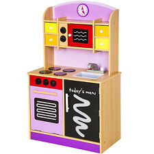 Cuisine en bois pour des enfants jeu du rôle d'imitation chef set kit pourpre