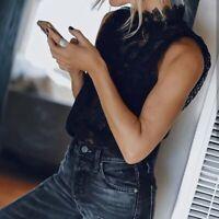 L New Bohemian Black Lace Blouse Top Tank Vtg 70s Insp Womens Size LARGE NWT